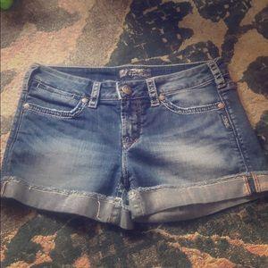 """Silver Jean Shorts Toni 3 1/2"""" 28W"""